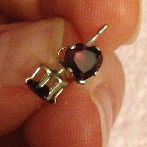 Jewelry - Faceted Garnet Heart Stud Earrings